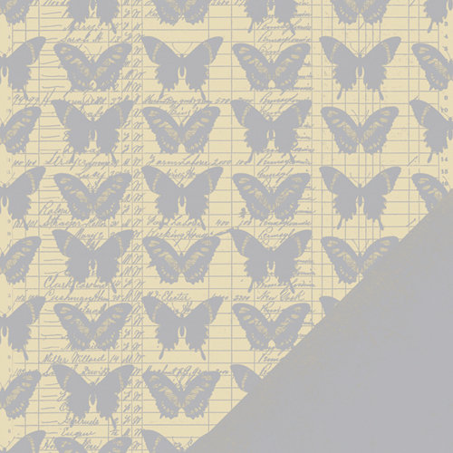 Making Memories - Paper Reverie Collection - 12 x 12 Metallic Double Sided Paper - Silver Butterfly Ledger