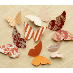 Making Memories - Paper Reverie Collection - Cardstock Pieces - Butterflies - Sienne