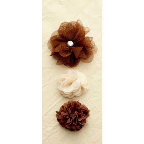 Making Memories - Paper Reverie Collection - Fabric Flowers - Florets - Brun Antique
