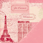 Making Memories - Je t'Adore Collection - Valentine - 12 x 12 Double Sided Paper - Eiffel Tower