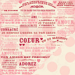 Making Memories - Je t'Adore Collection - Valentine - 12 x 12 Double Sided Paper - French Words