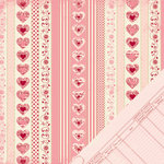 Making Memories - Je t'Adore Collection - Valentine - 12 x 12 Double Sided Paper - Pattern Stripe