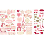 Making Memories - Je t'Adore Collection - Valentine - Die Cut Pieces with Glitter and Foil Accents - Papier