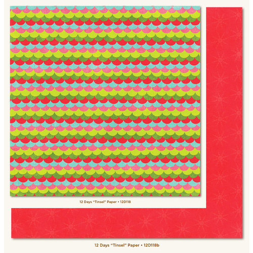 My Mind's Eye - 12 Days of Christmas Collection - 12 x 12 Double Sided Paper - Tinsel