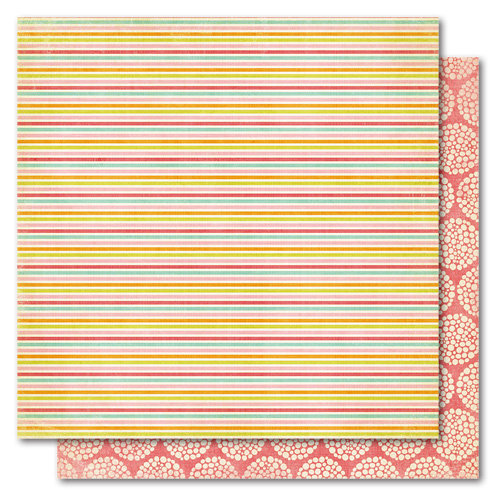 My Mind's Eye - Alphabet Soup Collection - 12 x 12 Double Sided Paper - Sunny Stripes Girl, CLEARANCE