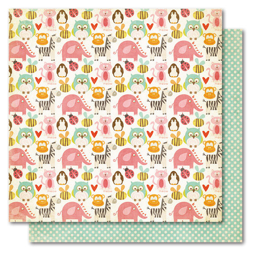 My Mind's Eye - Alphabet Soup Collection - 12 x 12 Double Sided Paper - Zoo Cuties Girl, CLEARANCE