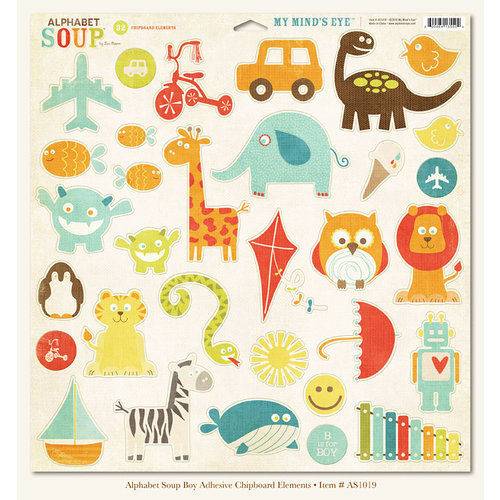 My Mind's Eye - Alphabet Soup Collection - 12 x 12 Chipboard Stickers - Elements Boy, CLEARANCE