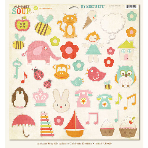 My Mind's Eye - Alphabet Soup Collection - 12 x 12 Chipboard Stickers - Elements - Girl, CLEARANCE