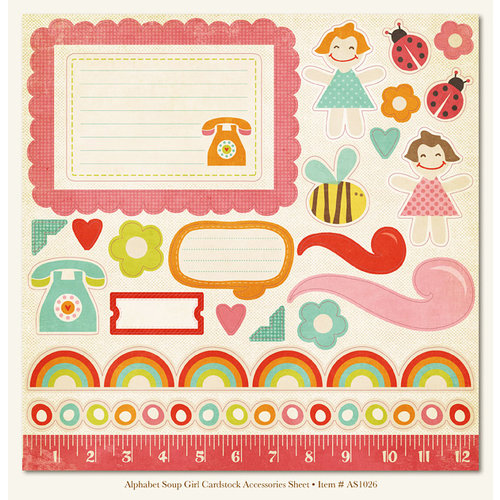 My Mind's Eye - Alphabet Soup Collection - 12 x 12 Die Cut Paper - Girl, CLEARANCE