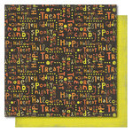 My Mind's Eye - Blackbird Collection - Halloween - 12 x 12 Double Sided Paper - Halloween Words