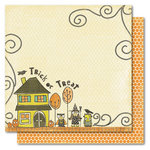My Mind's Eye - Blackbird Collection - Halloween - 12 x 12 Double Sided Paper - Trick-or-Treaters, CLEARANCE