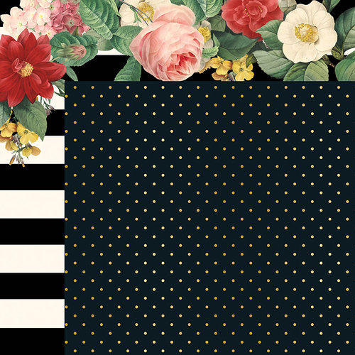 My Minds Eye - In Bloom Collection - 12 x 12 Double Sided Paper with Foil Accents - Le Jardin