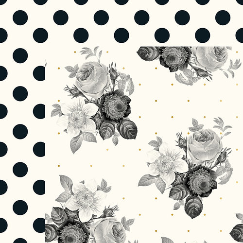 My Minds Eye - In Bloom Collection - 12 x 12 Double Sided Paper with Foil Accents - Romantic Blossoms