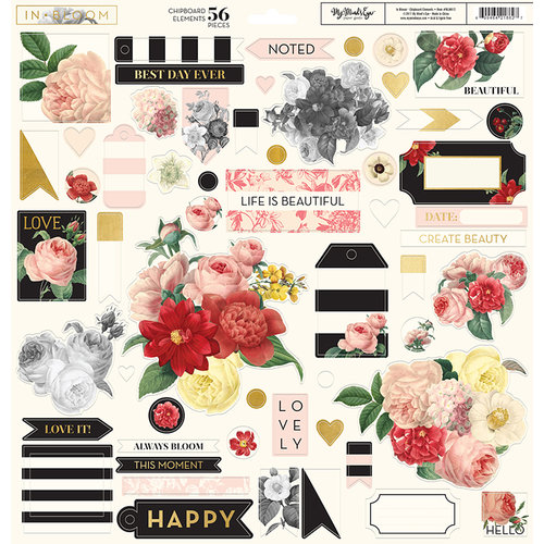 My Minds Eye - In Bloom Collection - 12 x 12 Chipboard Stickers - Elements