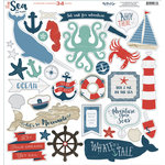 My Mind's Eye - By the Sea Collection - 12 x 12 Chipboard Stickers - Elements