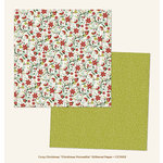 My Minds Eye - Cozy Christmas Collection - 12 x 12 Double Sided Paper with Glitter Accents - Christmas Poinsettia