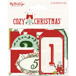 My Minds Eye - Cozy Christmas Collection - Advent Tags with Red Glitter Accents