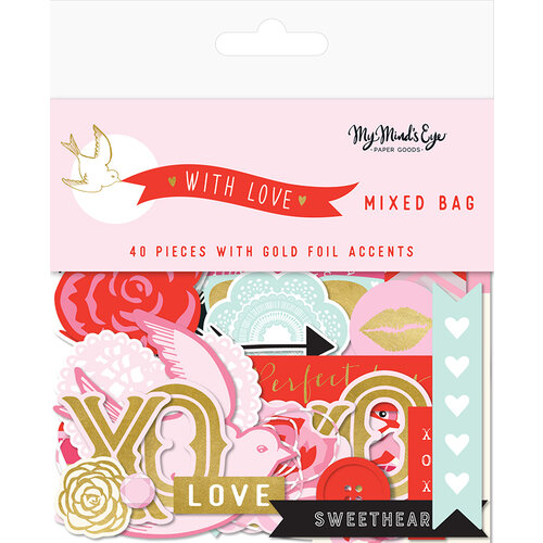 My Minds Eye - With Love Collection - Ephemera - Mixed Bag with Foil Accents