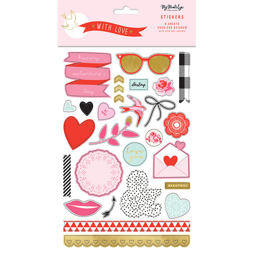 My Minds Eye - With Love Collection - Cardstock Stickers With Foil Accents