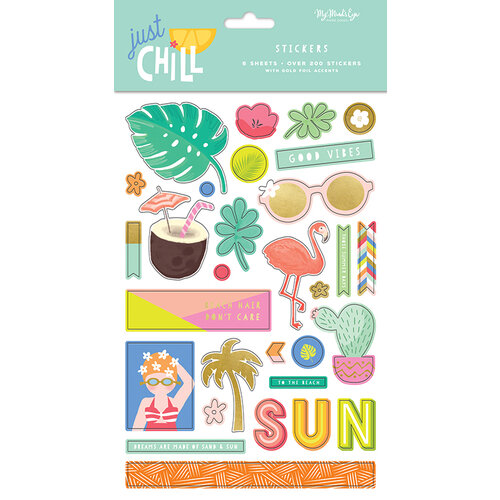 My Minds Eye - Just Chill Collection - Cardstock Stickers with Foil Accents