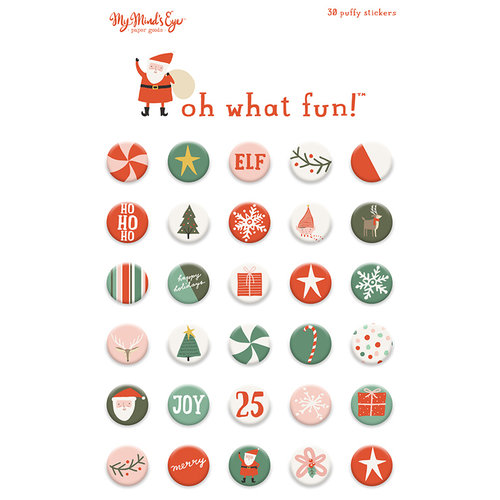 My Minds Eye - Oh What Fun Collection - Christmas - Puffy Stickers