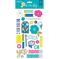 My Minds Eye - One Fine Day Collection - Chipboard Stickers with Foil Accents