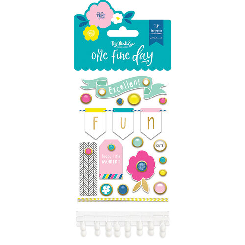 My Minds Eye - One Fine Day Collection - Decorative Brads with Foil Accents
