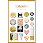 My Minds Eye - Fancy That Collection - Tux - Chipboard Buttons with Foil Accents