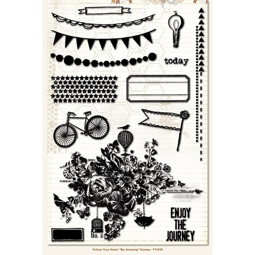 My Mind's Eye - Follow Your Heart Collection - Be Amazing - Clear Acrylic Stamps