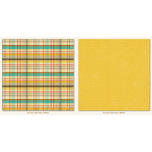My Mind's Eye - Boy Crazy Collection - 12 x 12 Double Sided Paper - Plaid