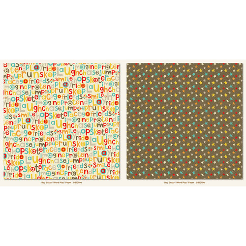 My Mind's Eye - Boy Crazy Collection - 12 x 12 Double Sided Paper - Word Play
