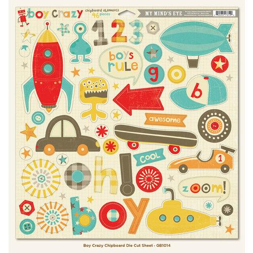 My Mind's Eye - Boy Crazy Collection - 12 x 12 Chipboard Stickers