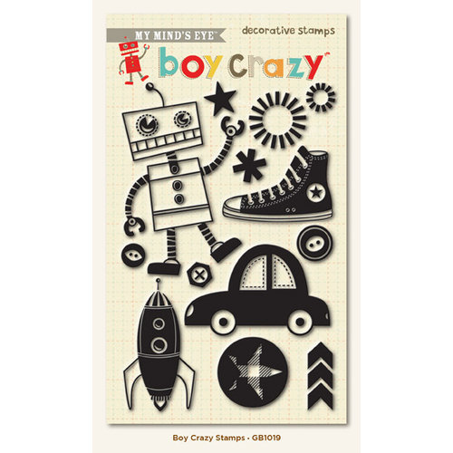 My Mind's Eye - Boy Crazy Collection - Clear Acrylic Stamps