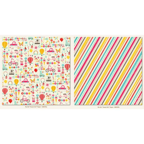 My Mind's Eye - My Girl Collection - 12 x 12 Double Sided Paper - Sweet Girl