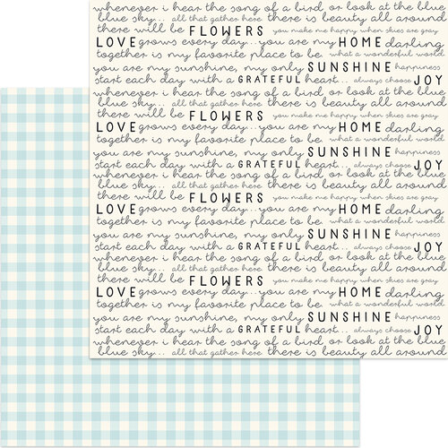 My Minds Eye - Gingham Gardens Collection - 12 x 12 Double Sided Paper - Birdie