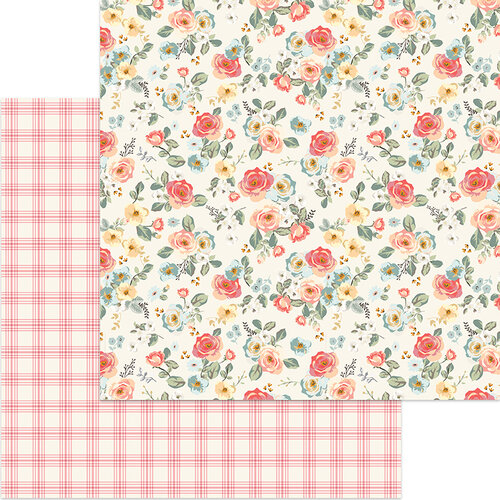 My Minds Eye - Gingham Gardens Collection - 12 x 12 Double Sided Paper - Savannah