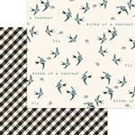 My Minds Eye - Gingham Farms Collection - 12 x 12 Double Sided Paper - Birdie