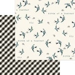 My Minds Eye - Gingham Farm Collection - 12 x 12 Double Sided Paper - Birdie