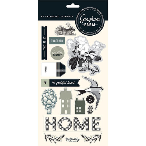 My Minds Eye - Gingham Farms Collection - Chipboard Stickers