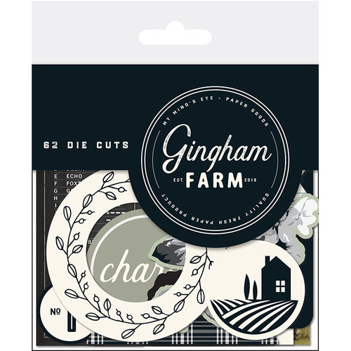 My Minds Eye - Gingham Farm Collection - Mixed Bag - Die Cut Cardstock Pieces