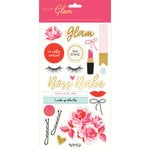 My Minds Eye - Gal Meets Glam Collection - Chipboard Stickers with Foil Accents
