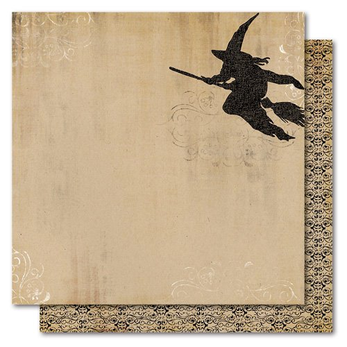 My Mind's Eye - Haunted Collection - Halloween - 12 x 12 Double Sided Flocked Kraft Paper - Flying Witch, CLEARANCE