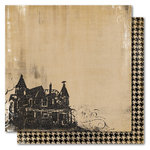 My Mind's Eye - Haunted Collection - Halloween - 12 x 12 Double Sided Flocked Kraft Paper - Haunted House, CLEARANCE