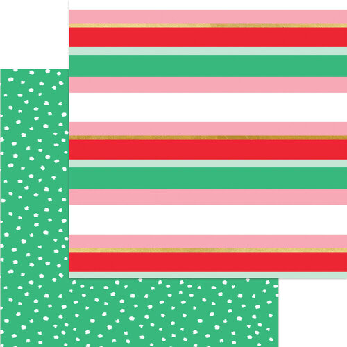 My Minds Eye - Christmas - Holly Jolly Collection - 12 x 12 Double Sided Paper - Merry Striped