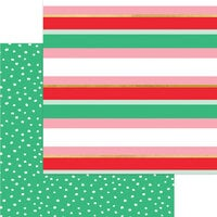 My Minds Eye - Christmas - Holly Jolly Collection - 12 x 12 Double Sided Paper - Merry Striped with Foil Accents