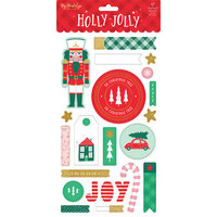 My Minds Eye - Christmas - Holly Jolly Collection - Chipboard Stickers with Foil Accents
