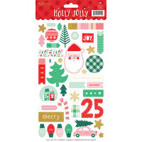 My Minds Eye - Christmas - Holly Jolly Collection - Stickers with Foil Accents