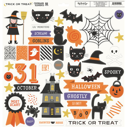 My Minds Eye - Trick or Treat Collection - Halloween - 12 x 12 Chipboard Stickers - Elements