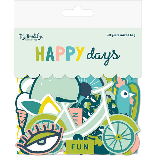 My Mind's Eye - Happy Days Collection - Mixed Bag - Die Cut Cardstock Pieces