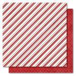 My Mind's Eye - I Believe Collection - Christmas - 12 x 12 Double Sided Glitter Paper - Candy Cane Stripes